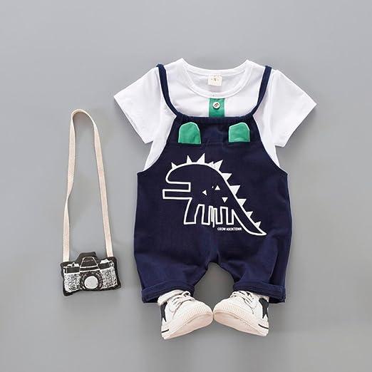 PAOLIAN Conjuntos para bebé niños Unisex Ropa para recién Nacidos Verano Camisetas + Tirantes de Pantalones Corta para bebés niño Impresion Dinosaurs de 12 Meses 18 Meses 24 Meses 3 años (80,