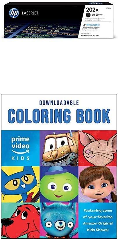 HP 202A | CF500A | Toner Cartridge | Black + Amazon Original Kids Shows Downloadable Coloring Book [PC/Mac Download]