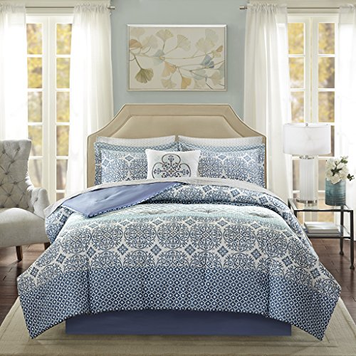 (Madison Park Essentials Sybil Cal King Size Bed Comforter Set Bed in A Bag - Blue, Striped - 9 Pieces Bedding Sets - Ultra Soft Microfiber Bedroom Comforters)