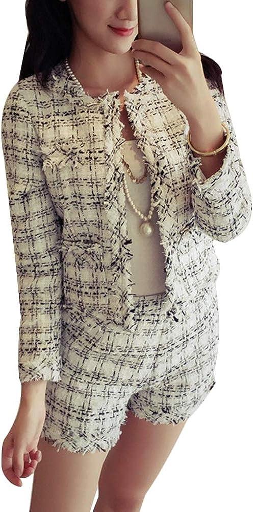 Tassels Shorts Suit Women 2 Piece Set Slim Plaid Set Fashion Fringed Trim Jacket Coat