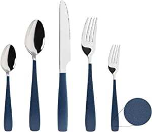 HF HOFTEN Silverware Set, 20 Piece Outdoor Stainless Steel Flatware Set Include Fork Spoon Knife Utensils for Daily Use and Parties, Service for 4, Safe in Dishwasher(LY000M-DBU)