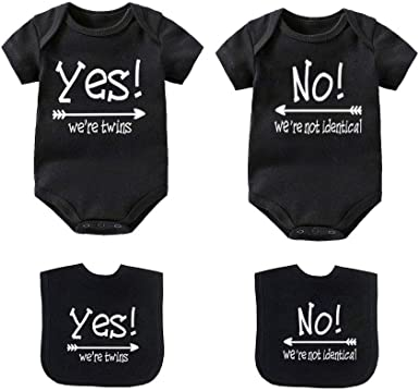2-Pack ZHHENIALY Baby Clothes Born Together and Friends Forever Twin Pack Newborn Romper Bodysuit for Twins Boy Girl