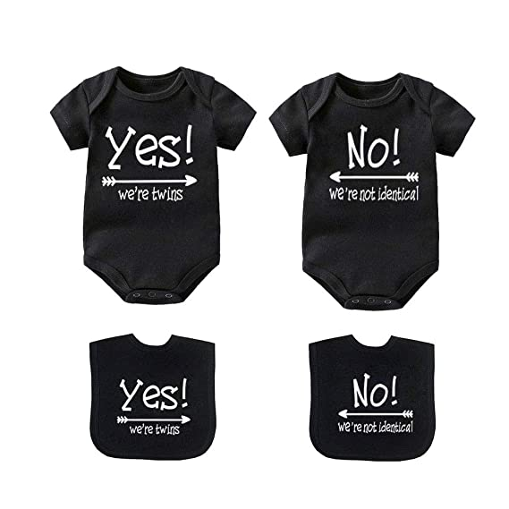 abd087cc544eb YSCULBUTOL Baby Bodysuits Yes We are Twins No We are Identical Twins  Bodysuit Boys Girls Twins Clothes Short Sleeve