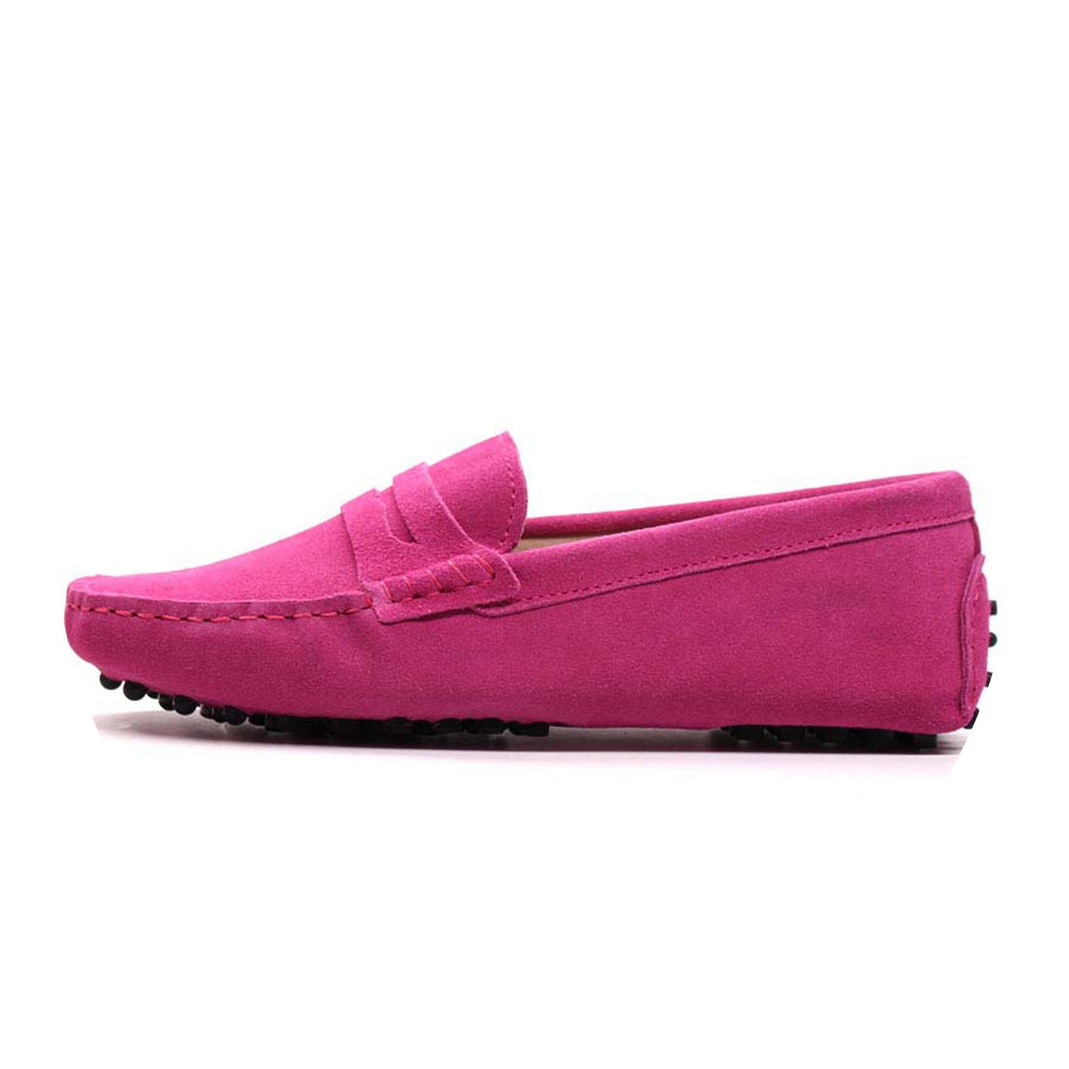 2018 New Women Flats Genuine Leather Driving Shoes Summer Women Casual Shoes B07DV3W9F2 6 B(M) US|Rose Red