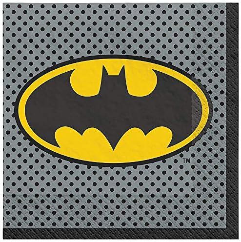 Utensils Napkins Including Plates and Bonus Printed Ribbon Batman Birthday Party Supplies Bundle