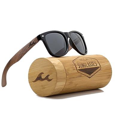 5b969477228ba Amazon.com  7THSET Wayfarer Walnut Wood Sunglasses With Polarized ...