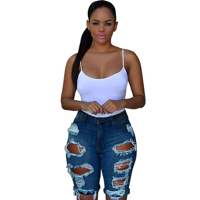 c9c17f38fa8d QinMM Frauen Casual Denim Destroyed Bermuda Shorts Jeans Hohe Taille Shorts  Hot Pants Sommer Sexy Hosen Tägliche Party Schwarz Weiß Blau S-XXL   Amazon.de  ...