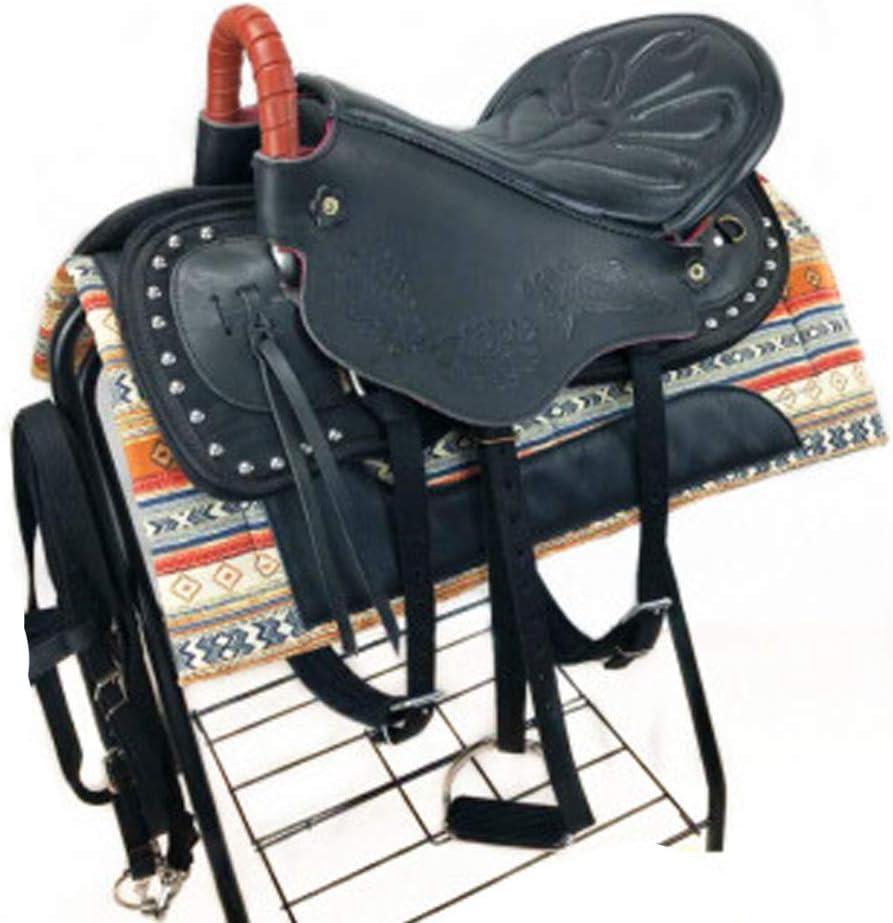 BLCC - Juego completo de sillas de montar de cuero puro para montar a caballo, clavos de espuma de vaca, con accesorios de línea negro