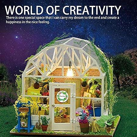 HAMKAW - Kit de casa en Miniatura de muñecas de Madera, Mini casa para niñas, decoración Manual de Dollhouse - Juegos de pequeño jardín románticos, luz LED de Efecto, cumpleaños o Fiesta: