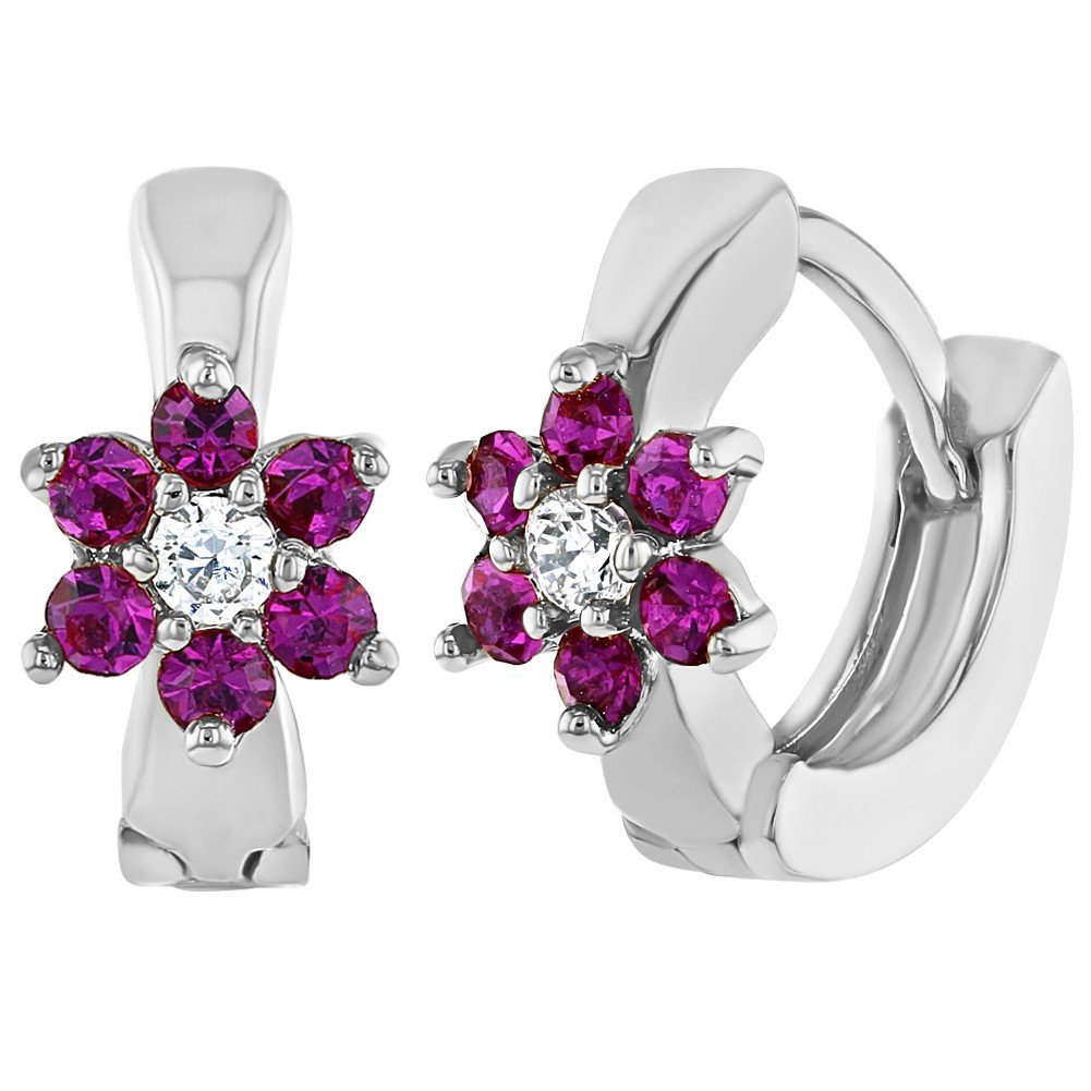 Rhodium Plated Hot Pink Crystal Flower Huggie Small Hoop Earrings for Girls In Season Jewelry 03-1019