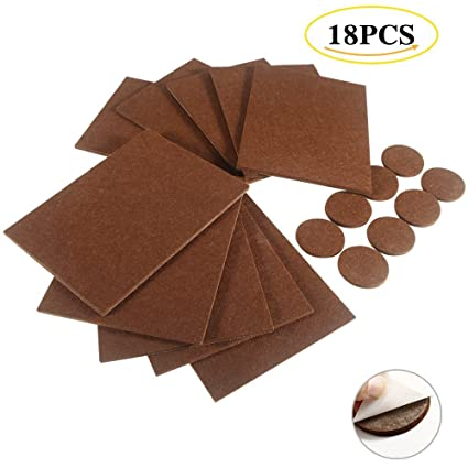 LinTimes Furniture Pads - 18 Pcs Self-Stick Felt Furniture Pads Protector Furniture Sliders with 3M Super Adhesive for Hard Surfaces - Cut into any Shape