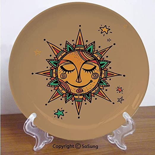 SoSung Plato Decorativo de cerámica de 15,2 cm, diseño de Dibujos ...
