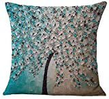 Decorative Pillow Cover - ChezMax Oil Painting Home Decorative Cotton Linen Throw Pillow Cover Cushion Case Square Pillowslip For Bedding Sofa Lake Blue 45 X 45 cm