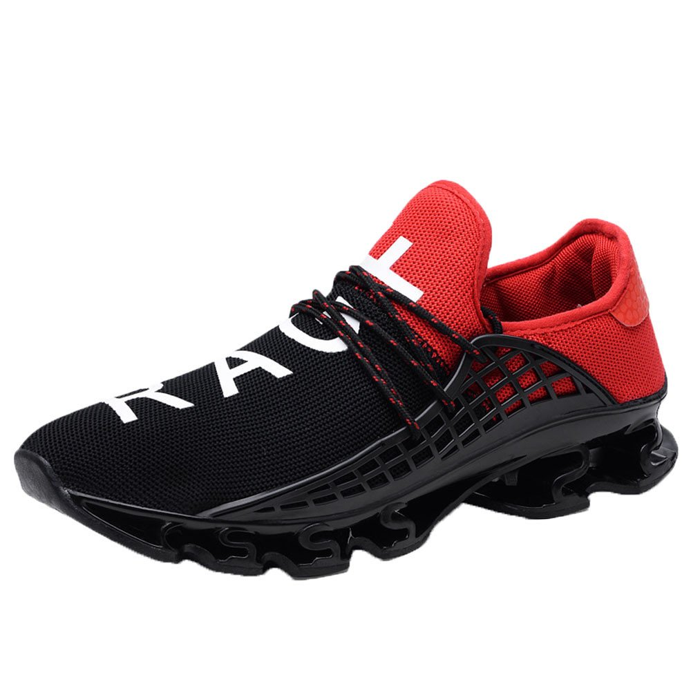 HOSOME Men Mesh Sneakers Casual Sport Athletic Breathable Running Shoes Outdoor Walking Fitness Jogging Training Shoes Red