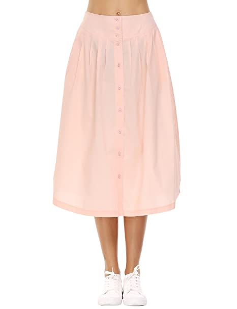 ce317fafe1 Zeagoo Womens High Waist Swing A-Line Cotton Skirt Pleated Midi Skirt, Apricot,