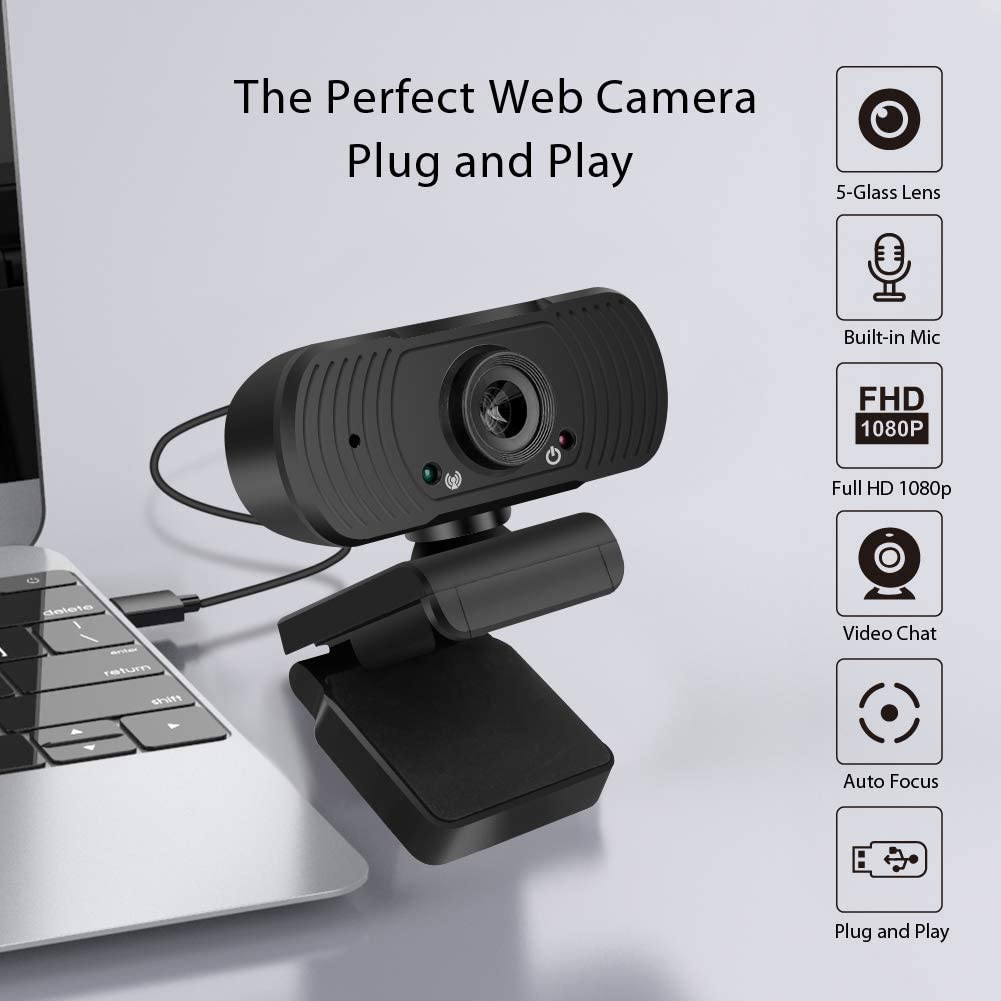 Messa a Fuoco Automatica Gaming PC e videochiamate Webcam 1080p Full HD Microfono Stereo Pieghevole e Girevole a 360/° Mac e Android Ideale per conferenze Compatibile con Windows