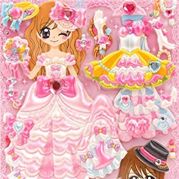 Pegatina esponjosa muñeca vestir japonesa kawaii boda novios Wedding party