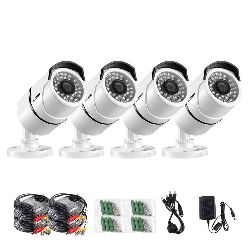 ZOSI 4 Pack 3.6mm Lens 1000TVL 960H High Resolution CMOS 36pcs IR LEDs Night Vision 100ft(30m) Waterproof Outdoor Bullet CCTV Camera Surveillance for Security System (White Metal housing) by ZOSI