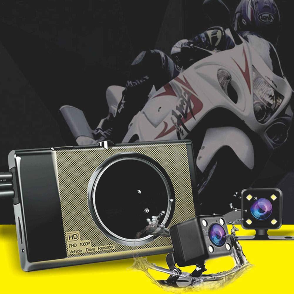 Reisen Nite Mode Double Recording Versteckt F/ür Outdoor-Fahren bulrusely Motorrad Dash Cam Motorrad Fahren Recorder Vorne Und Hinten Double Lens Loop-Aufnahme