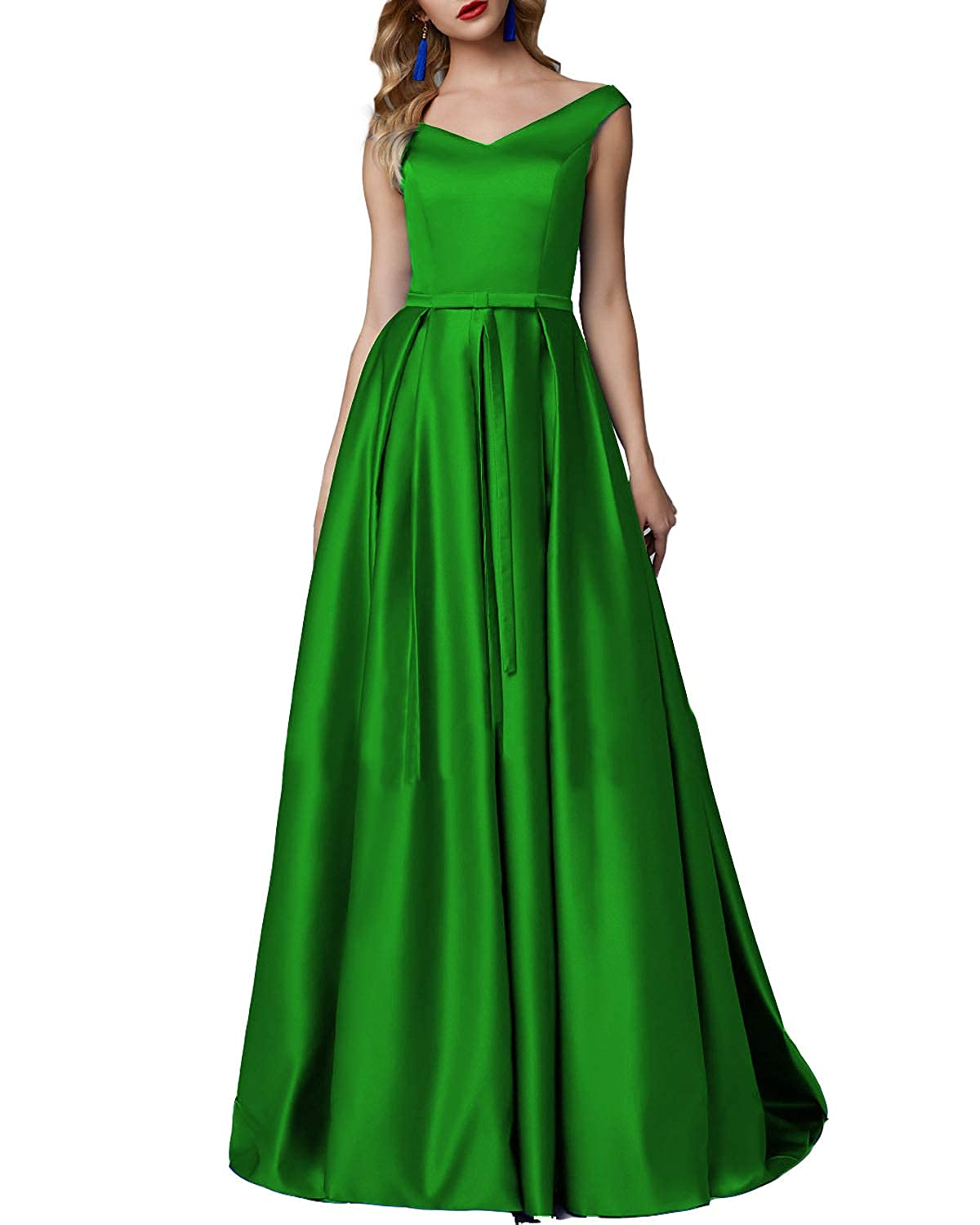 Green CCBubble Long Satin Prom Dresses Aline V Neck Sleeveless Formal Evening Wedding Party Gowns