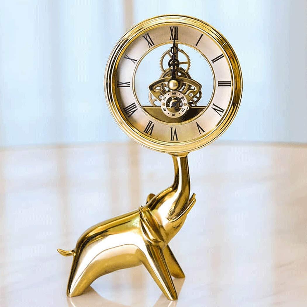 HONGNA Brass Small Elephant Clock European Clock Gear Rotating Table Clock Creative Living Room Study Decoration Crafts Ornaments Hollow Movement (Size : 1420cm) by HONGNA (Image #3)