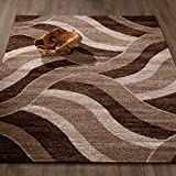 Ottomanson City Collection Contemporary Sculpted Effect Abstract Waves Chocolate Brown Beige Area Rug – 5×7 (5'3″ x 7'3″)