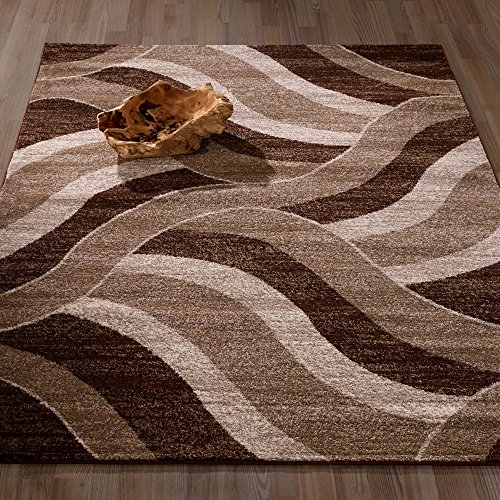 Ottomanson City Collection Contemporary Sculpted Effect Abstract Waves Chocolate Brown Beige Area Rug - 5x7 (5'3