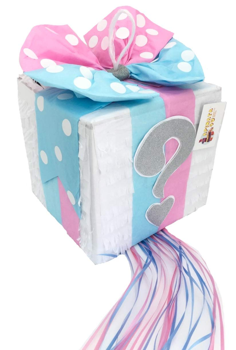 APINATA4U Gender Reveal Gift Box Pinata Light Pink & Blue Color Bow with Silver Question Mark Accent by APINATA4U (Image #2)