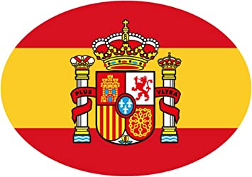 Artimagen Pegatina Bandera Oval Escudo España 80x60 mm.: Amazon.es ...