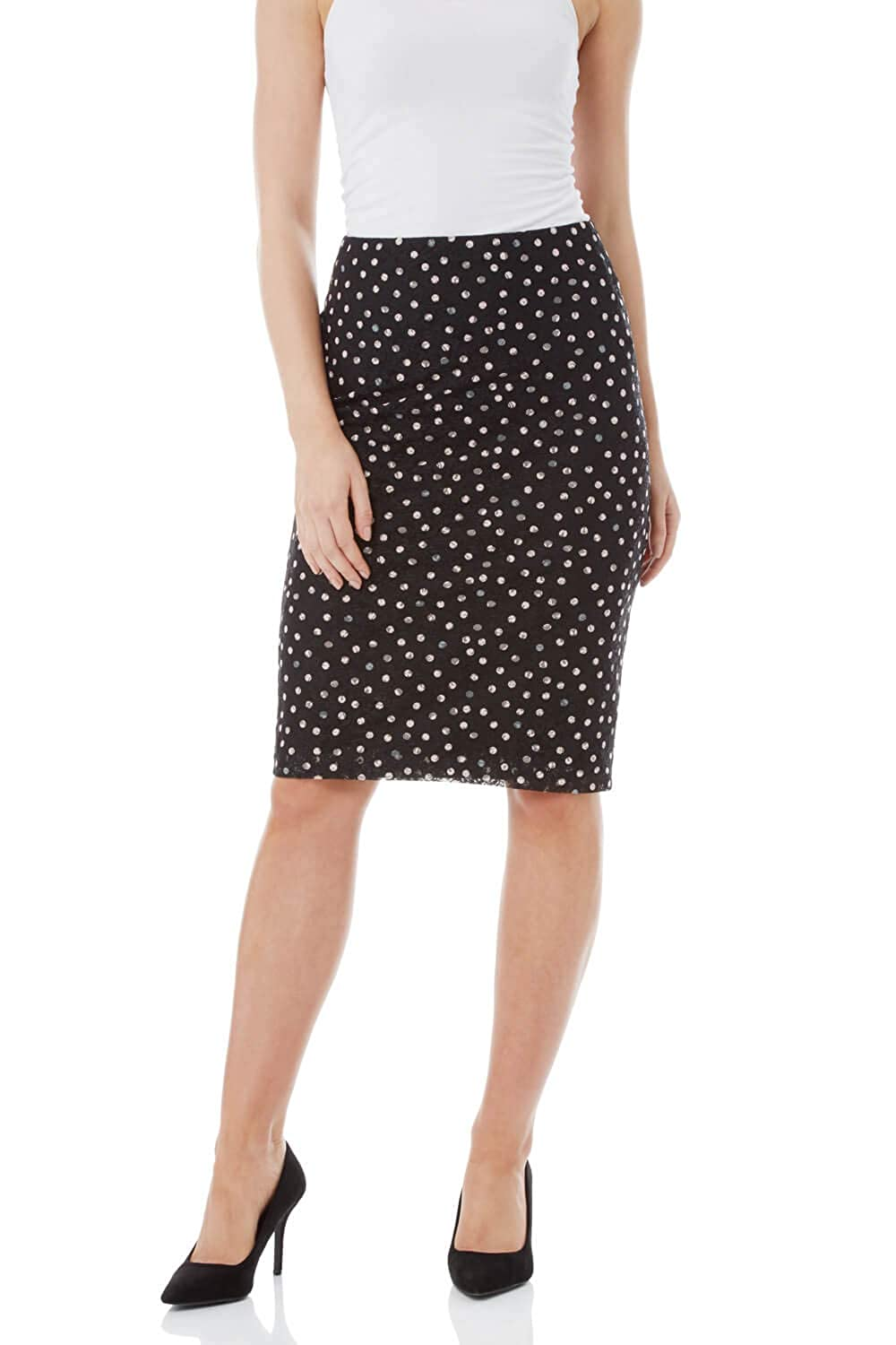 Roman Originals Women Lace Spot Pencil Skirt - Ladies Regular Waist Knee Length Midi Jersey Smart Casual Work Office Stretchy Elasticated Waist Going Out Tube Skirts with Zip Black 17000608