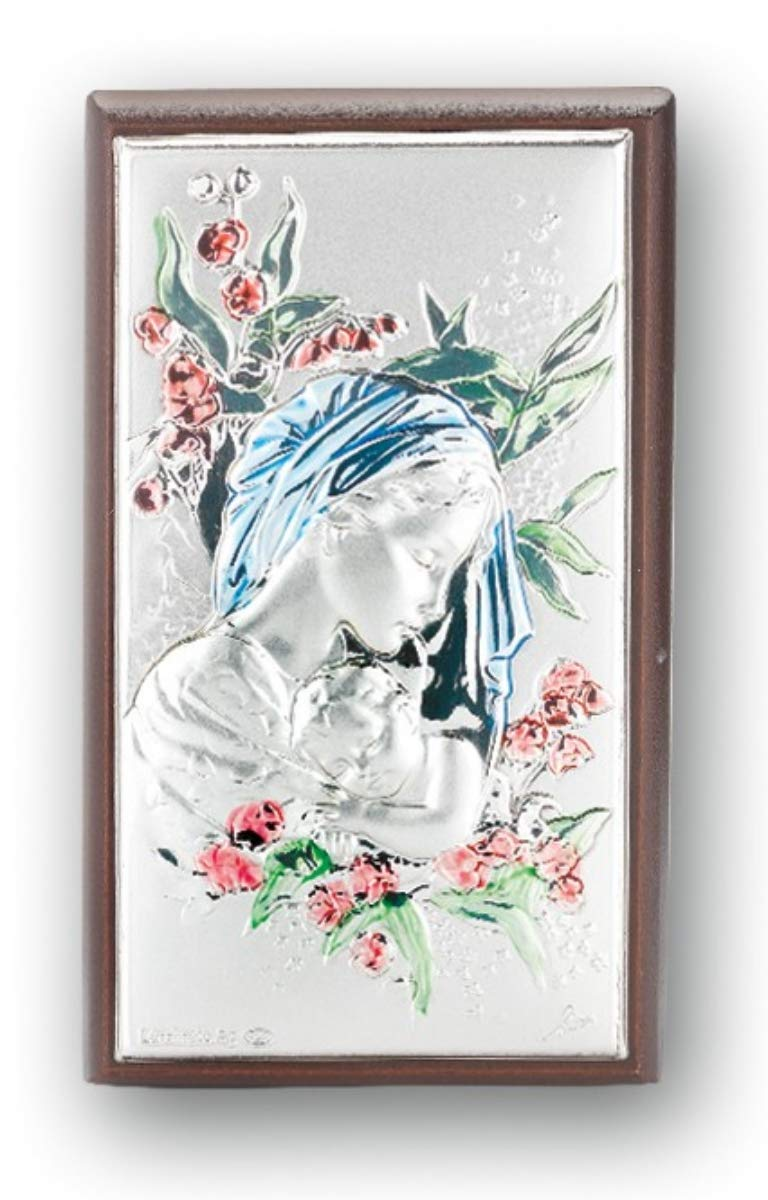 Sterling Silver Madonna and Child on Wood Plaque 3 Inch