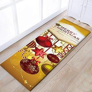 Eanpet Merry Christmas Rug Thin Runner Rug Doormat Xmas Home Decor Pet Feeding Mat Set for Kitchen Front Door Lobby,Gold Christmas Ball
