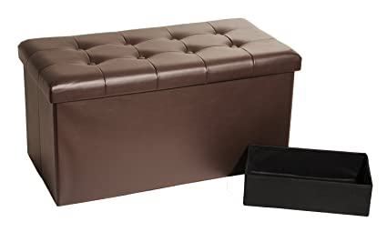 Perfect Seville Classics Foldable Faux Leather Storage Bench Ottoman Espresso