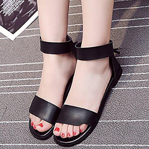 Easemax Womens Comfy Fringed Open Toe Dress Flat Zip Up Ankle Strap Sandals Black 9b0y4kHq3