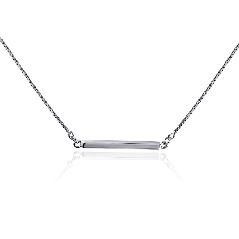 CISHOP Minimalist Balance Sterling Silver Bar Pendant Necklace for Women