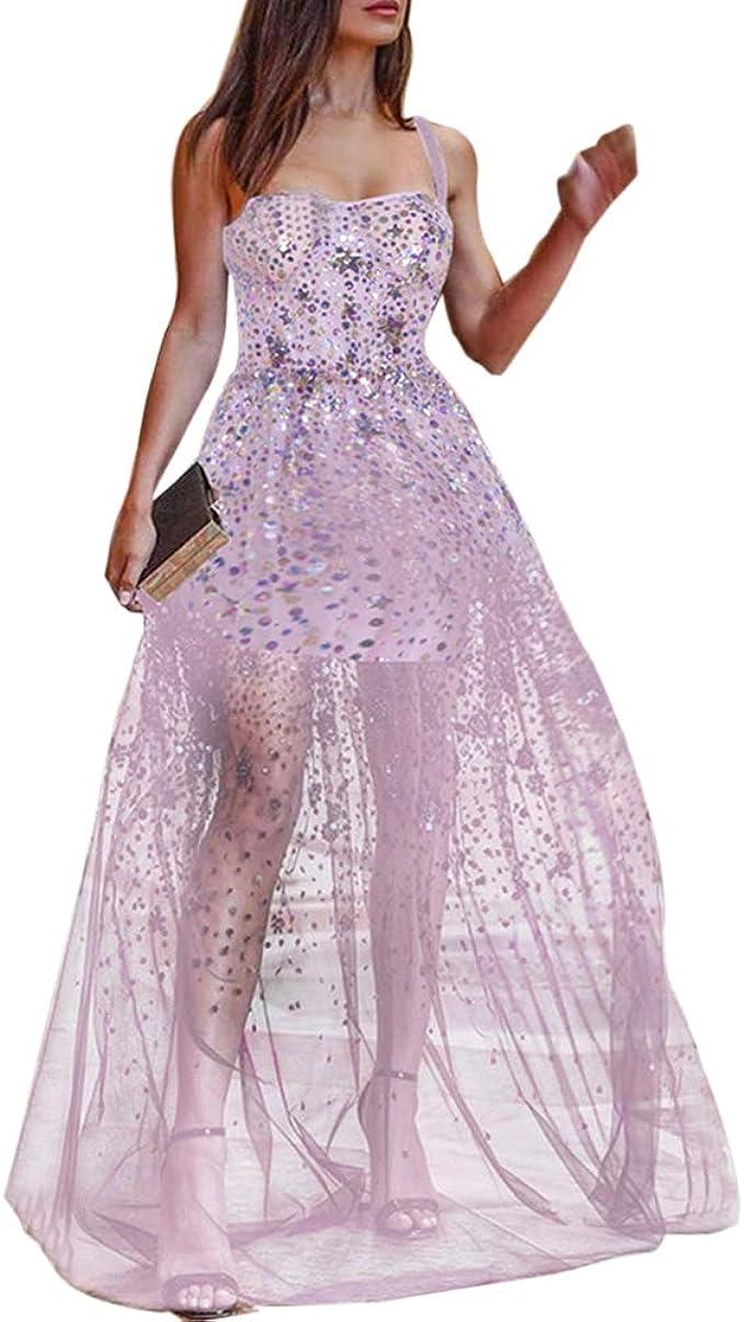 Shujin Damen Paillettenkleid Mesh Perspektive Langes Kleid mit