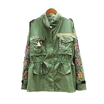 JIAKENVDE Studded Crystal Otoño Invierno Mujeres Chaqueta Militar Básico Ejército Verde Mujeres Chaqueta: Amazon.es: Deportes y aire libre