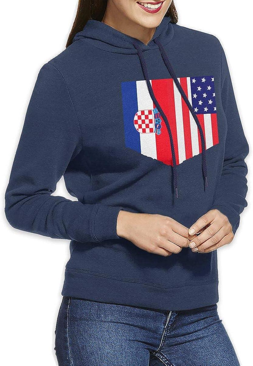 NVWEIYIJW Croatian Flag and American Flag Pullover Hoodie Womens Long Sleeve Tops Hooded Sweatshirts