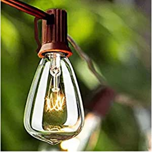 Goothy 25ft Outdoor String Lights with 27 Edison Bulbs (2 Spare), 5 W/120 V, C7/E12 Base, ST35 Patio Hanging Lights UL Listed for Garden Backyard Pergola Party Cafe Bistro Wedding Decor- Brown