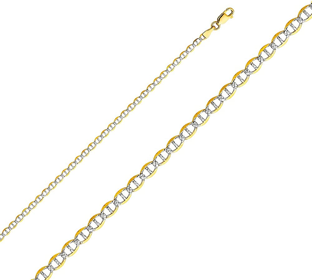 Jewels By Lux 14K Yellow Gold Flat Mariner Lobster Claw Clasp White Pave Chain Necklace