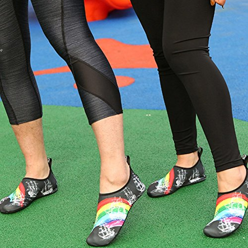 Aqua Water Women Quick for ZTL Rainbow Slip Dry Shoes Rainbow Colorful Kids Non Socks qIxASEwZA