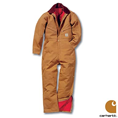 64ee422aeeb Carhartt Workwear Duck Bib Quilt Lined Mens Coveralls Carhartt Brown Chest  42 Inch: Amazon.co.uk: Clothing