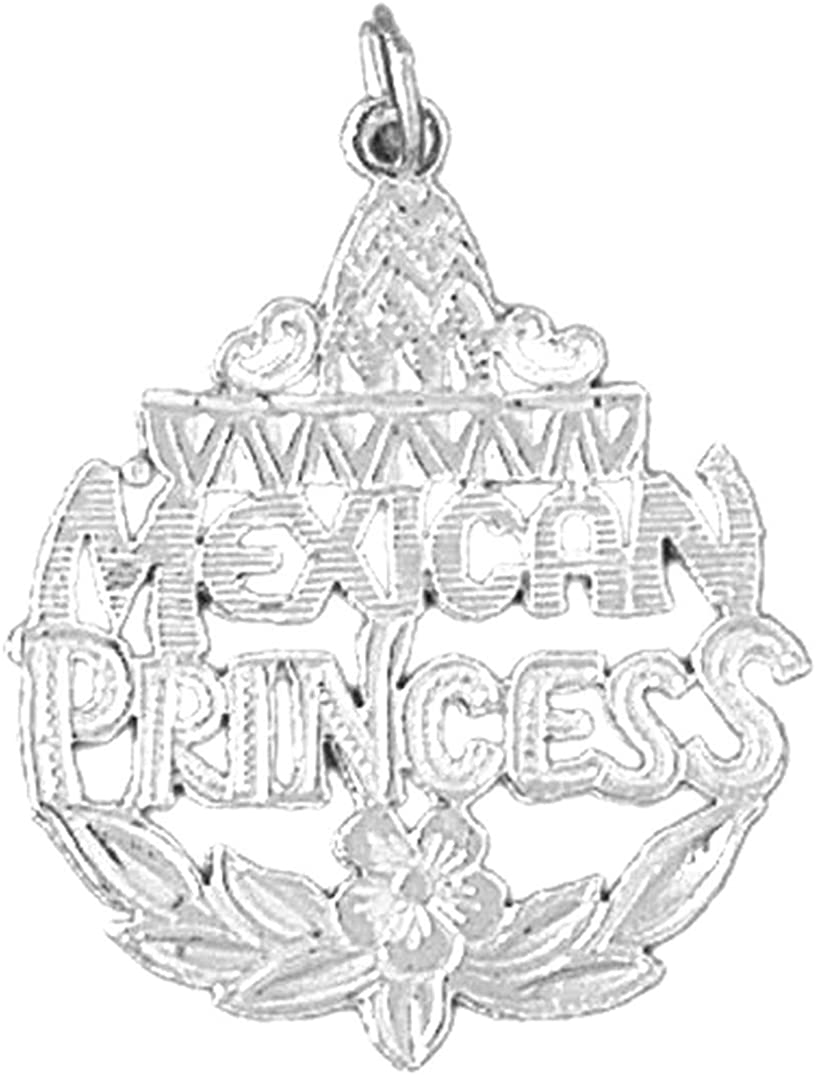 Sterling Silver 925 Mexican Princess Pendant Jewels Obsession Mexican Princess Pendant 31 mm