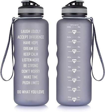 27Oz Flip Lid Water Bottle Fitness Workout Sports Measurements Goal Marked Times