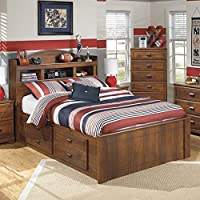 Ashley Barchan Wood Full Bookcase Drawer Bed in Brown