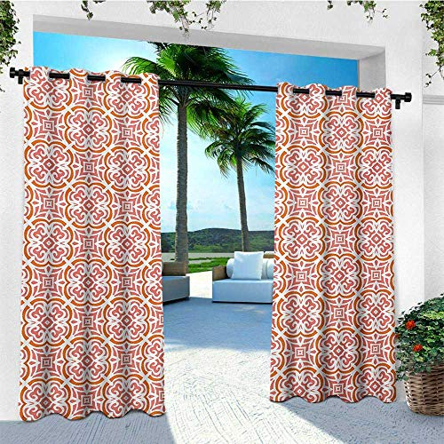 leinuoyi Coral, Outdoor Curtain Kit, Organic Floral Shapes Twenties Fashion Victorian Tile Retro Boho Art Print, for Patio Furniture W72 x L96 Inch Coral Orange White (Garden For Sale Victorian Furniture)