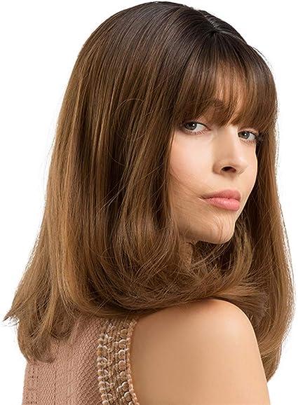 Sencillo Vida Pelucas Mujer Pelo Natural Medio Largo Recta Wigs ...
