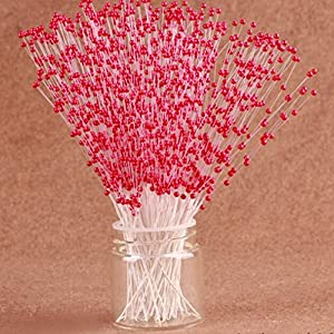 100 Stems Faux Pearl Spray Beads Wire Stems Wedding Bridal Flower Bouquet Party Table Decor (Red) 43