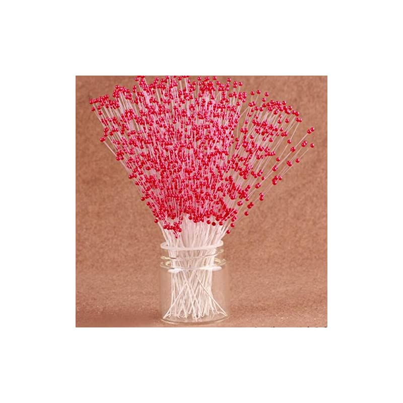 silk flower arrangements 100 stems faux pearl spray beads wire stems wedding bridal flower bouquet party table decor (red)