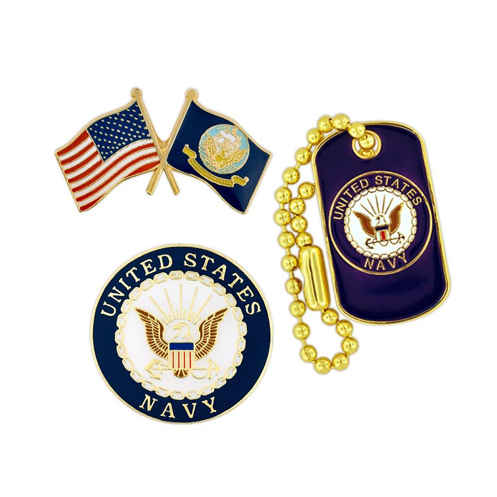 PinMart USN Navy Military Patriotic Dog Tag Enamel Lapel Pin Set